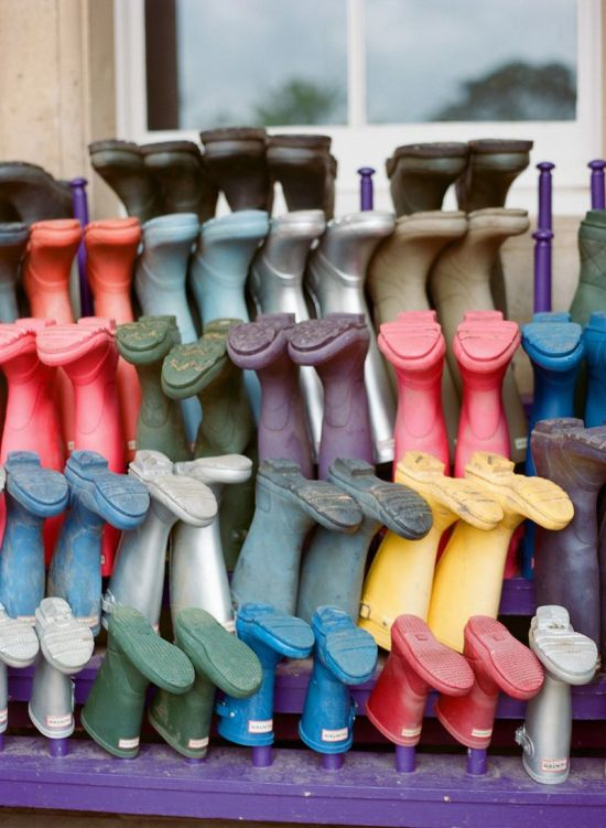 Spring Wedding Theme Idea With Colorful Wellies
