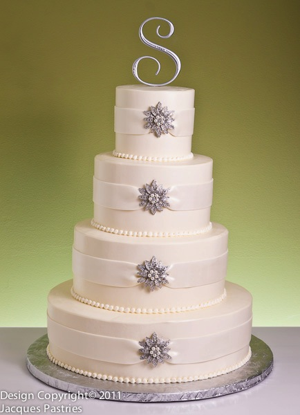 crystals winter wedding cake