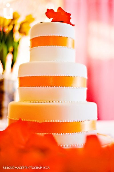 orange fall wedding cakes