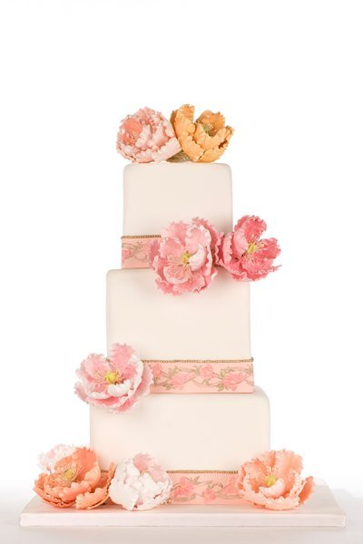 orange pink spring wedding cake
