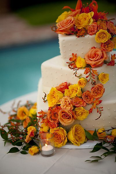 orange yellow fall wedding cakes