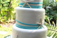 Round White Blue Beach Wedding Cakes