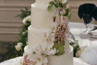 spring wedding cake with flowers