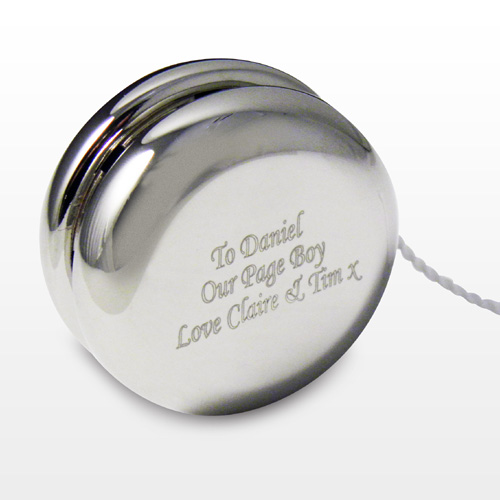 silver plated yo yo engraved