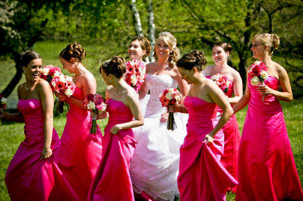 pink bridesmaid flowers