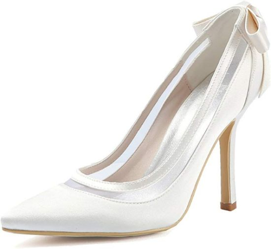 Satin Pointed Toe High Heel Wedding Shoes With Bow