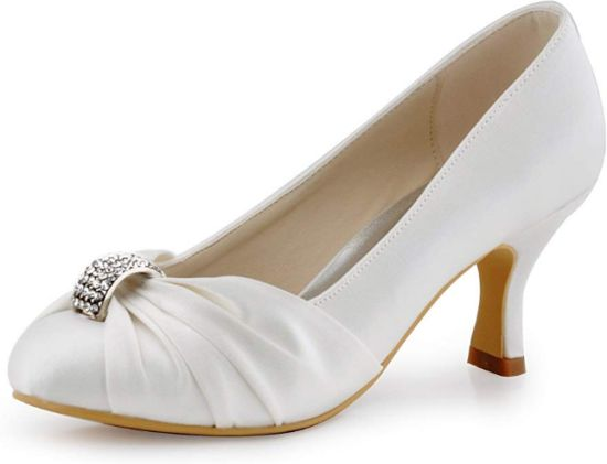 Mid Heel Closed Toe Brooch Ruched Satin Wedding Shoes