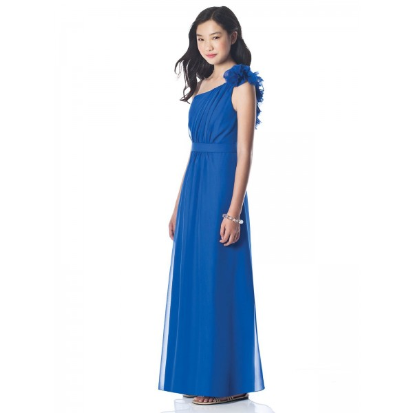 One Shoulder Long Blue Junior Bridesmaid DressCherry Marry