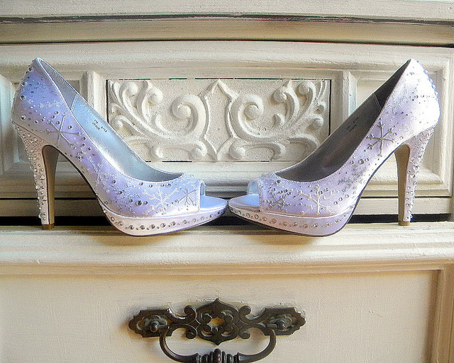 satin wedding shoes with rhinestones