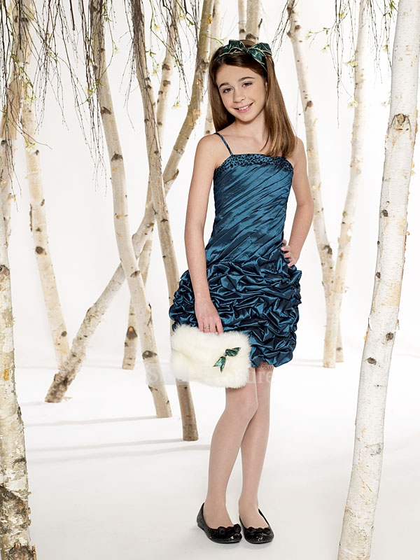 spaghetti straps short junior bridesmaid dress