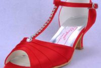 red strappy wedding sandals