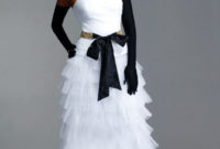 black and white wedding gown with black gloves