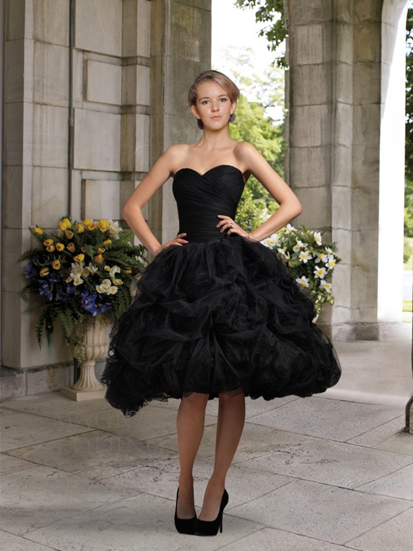 knee length black wedding dress