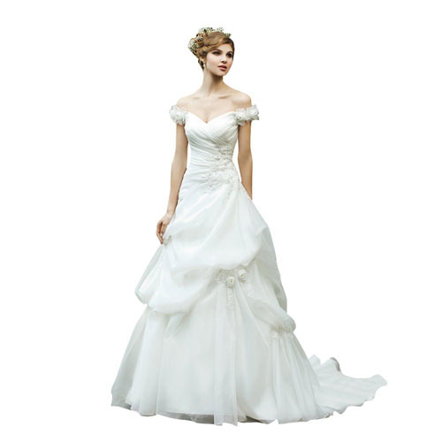 Capped Sleeves Princess Organza Wedding Dress with Pick-ups and ...