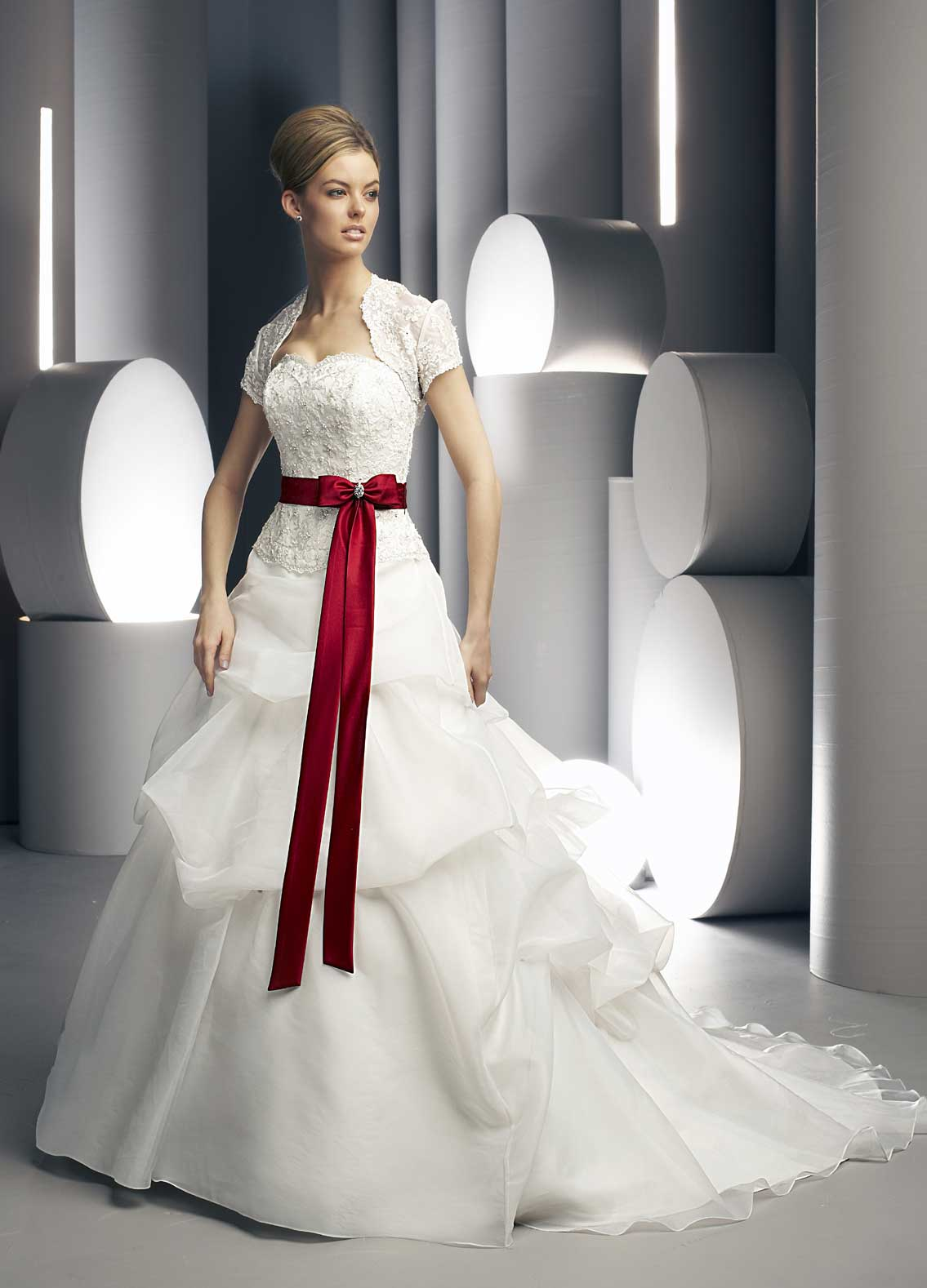 white wedding dress with red sashCherry Marry | Cherry Marry