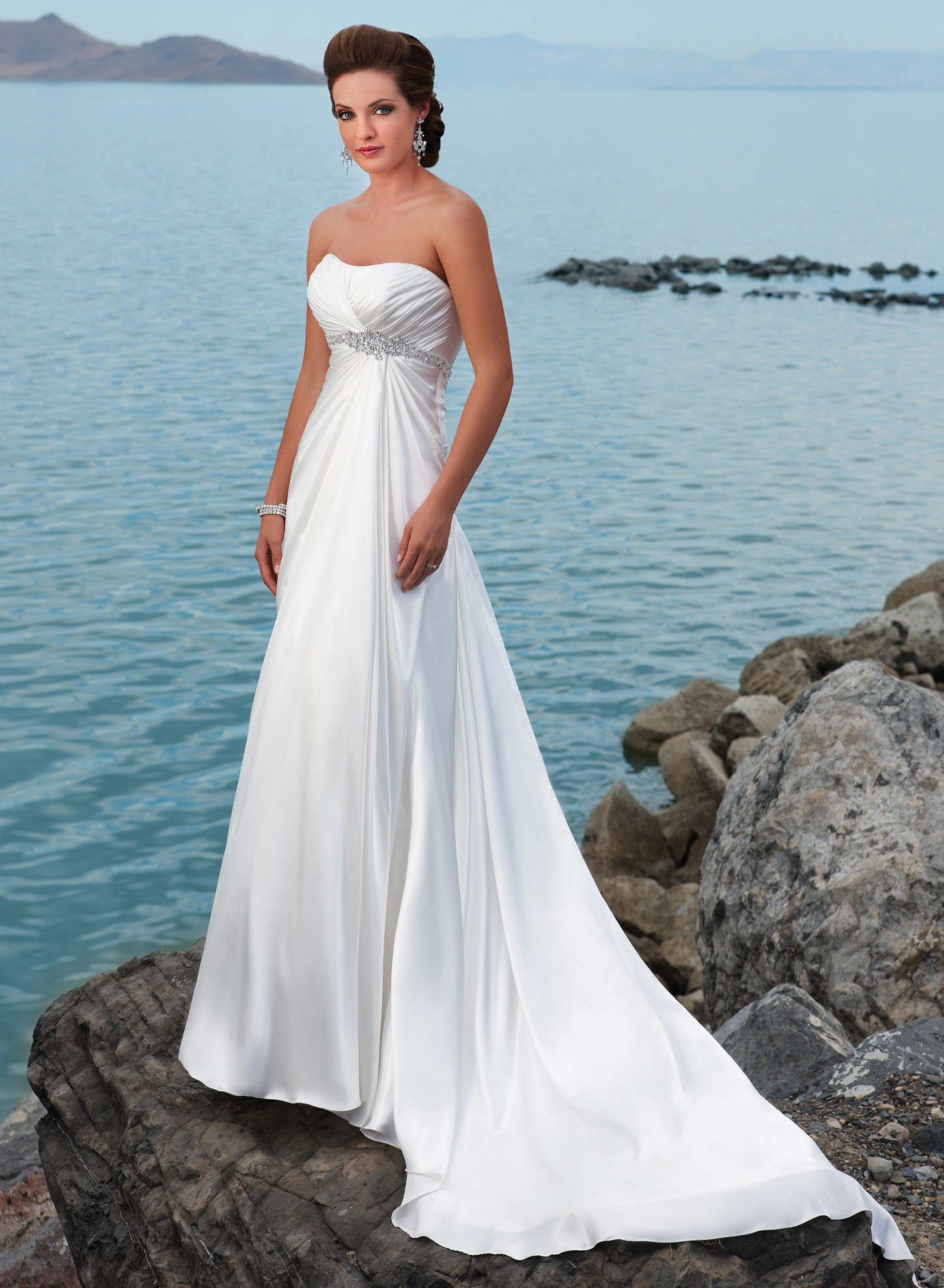 Wedding Gowns A Line Strapless : Satin strapless dipped neckline a line wedding dress see the details