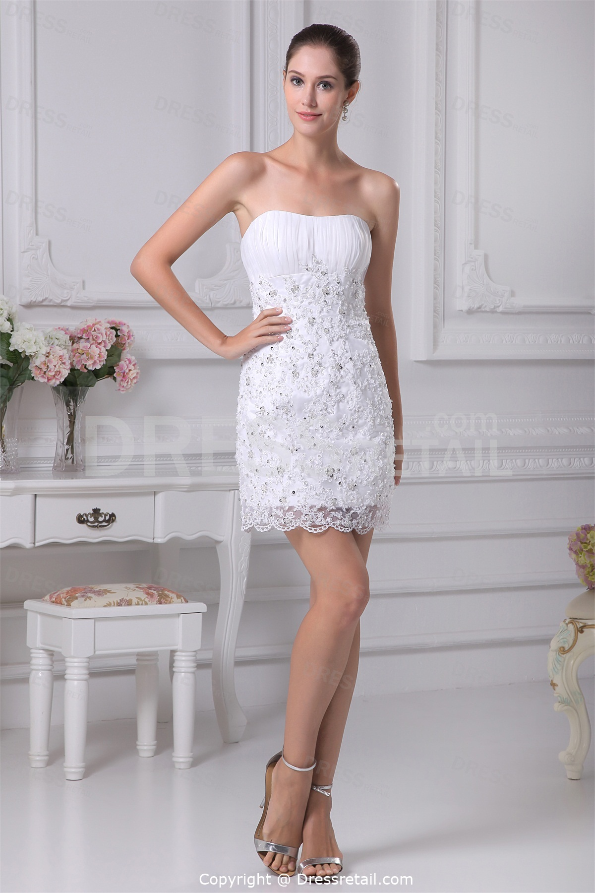 Lace summer wedding dresses in short stylecherry marry for Lace white wedding dress