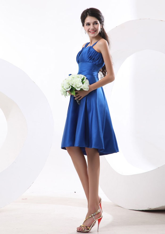 blue wedding guest dress with spaghetti straps