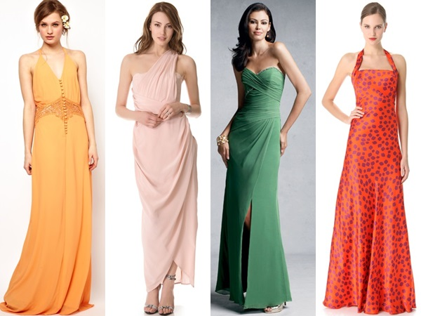 colorful long wedding guest dresses