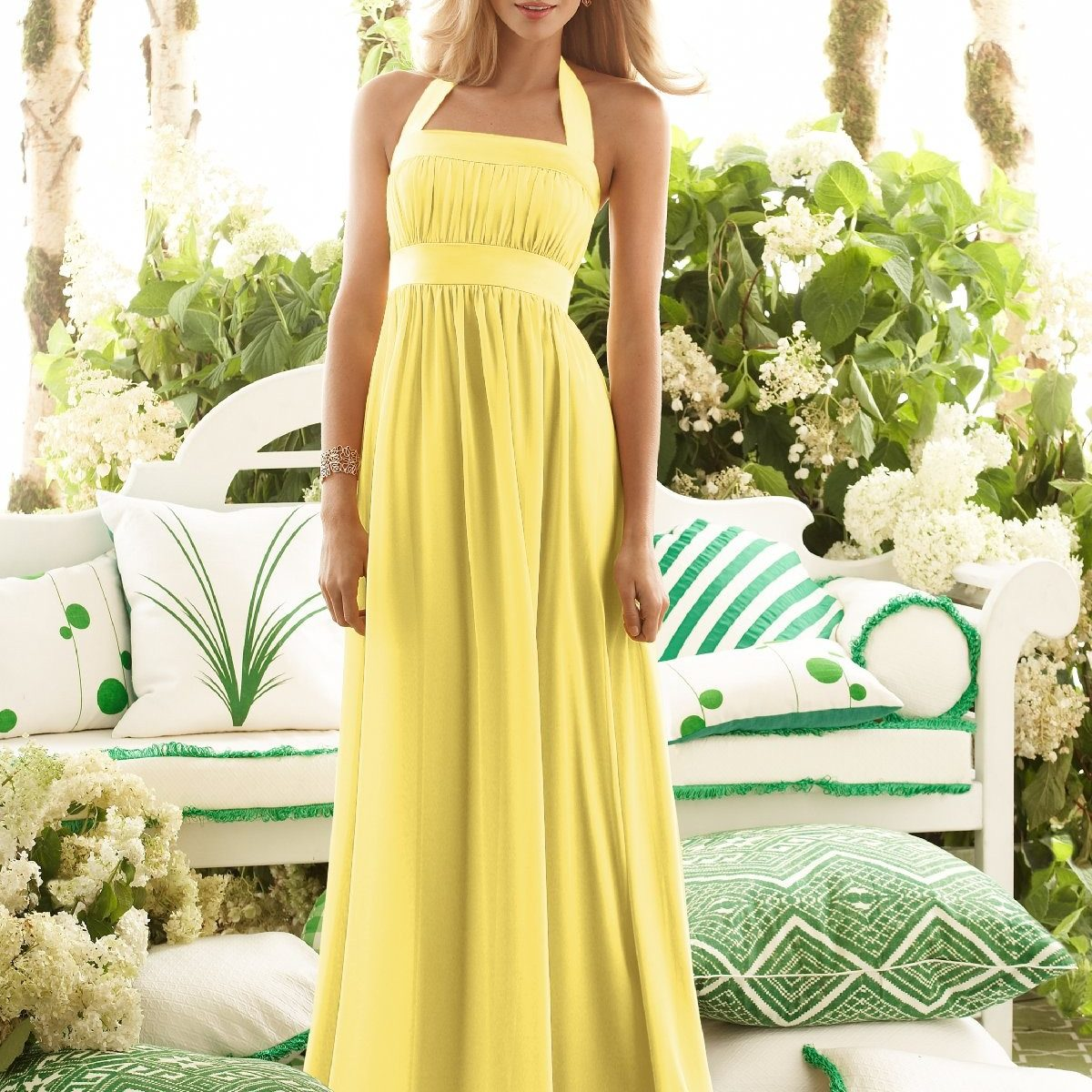 Halter a line yellow wedding guest dress with floor for Halter dress wedding guest