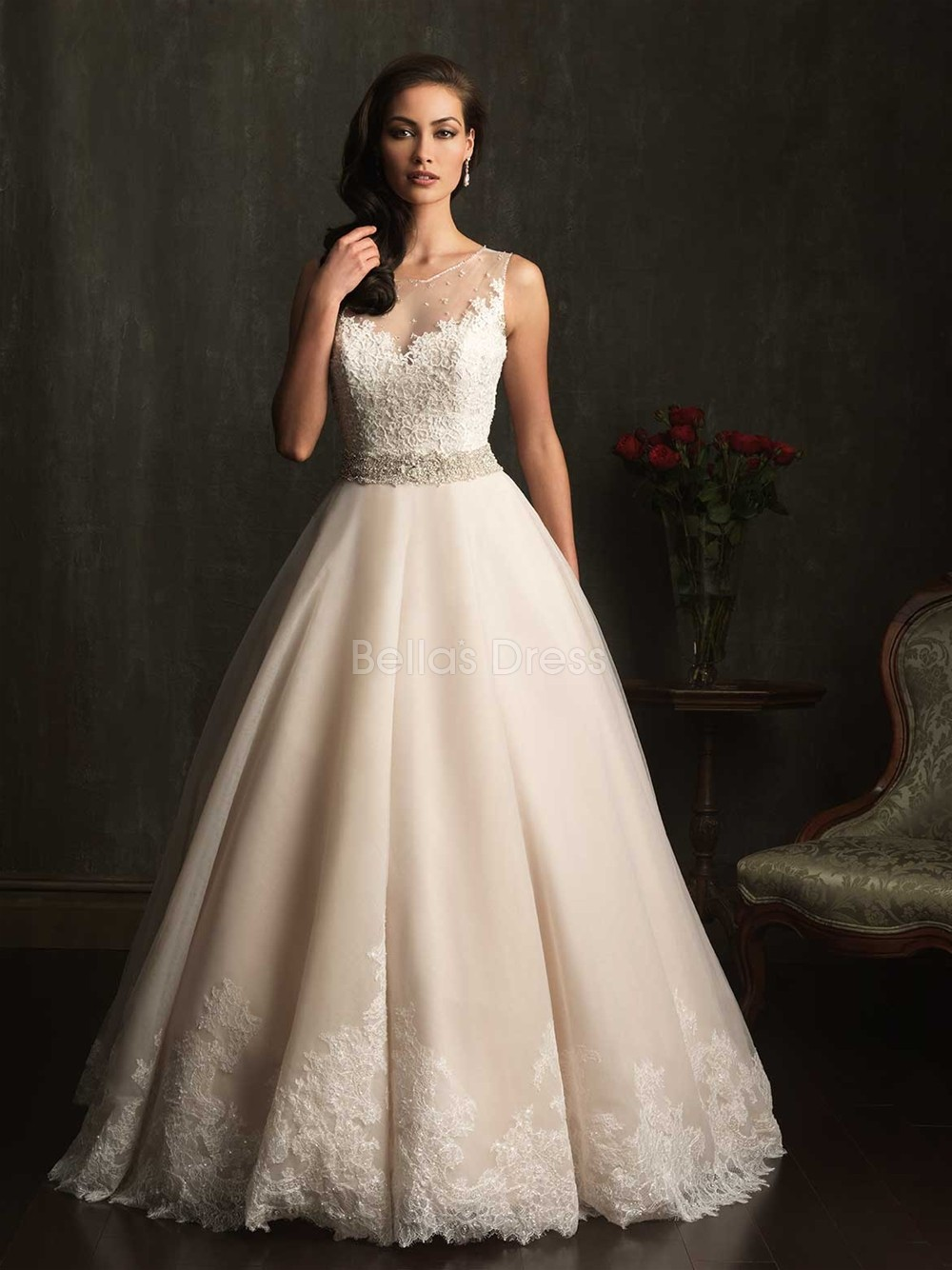 Lace ball gown wedding dress with chapel traincherry marry for Marry me wedding dresses