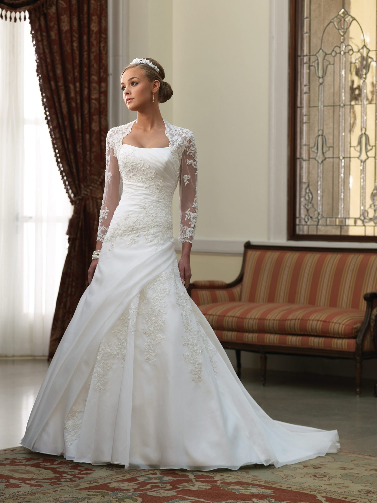 Lace Wedding Dress With A Line And Chapel Traincherry