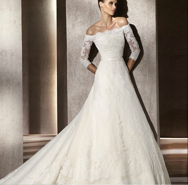 Lace Wedding Dresses With Off The Shoulder Sleeves