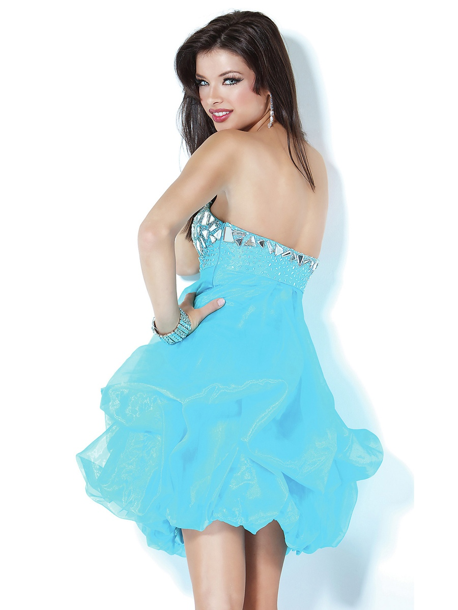 mini ball gown blue taffeta wedding guest dress
