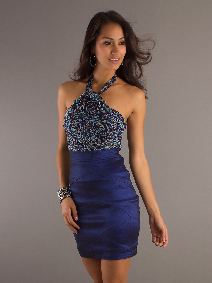 Short royal blue satin halter wedding guest dresscherry for Sexy dresses for wedding guests