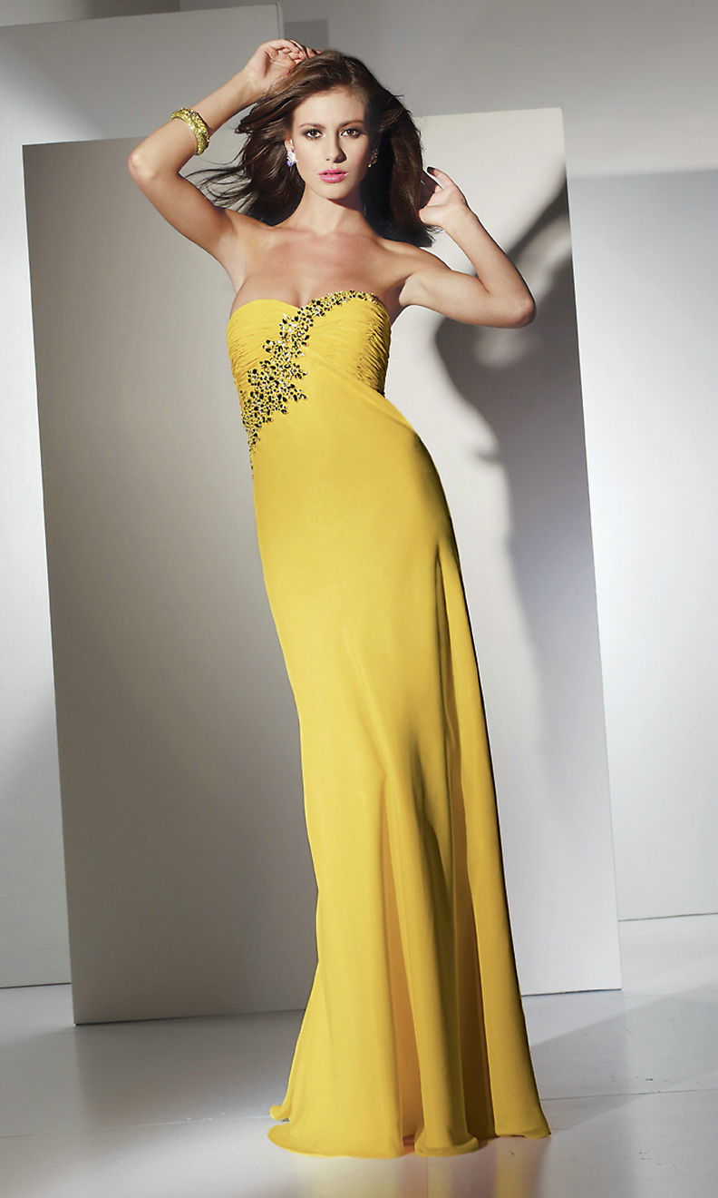 Strapless yellow wedding guest dresscherry marry cherry for Guest of wedding dresses