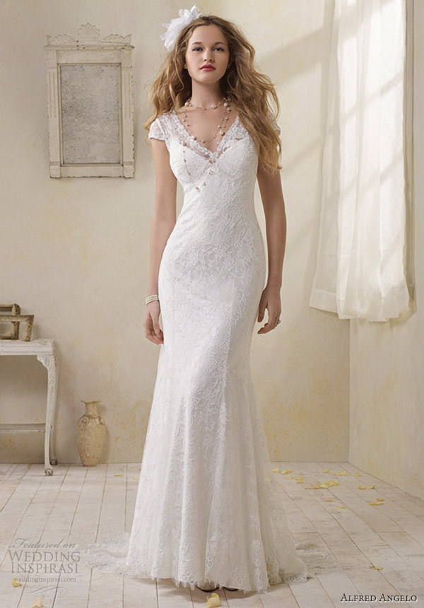 Vintage Lace Wedding Dress Designed With Cap Sleeves Cherry Marry