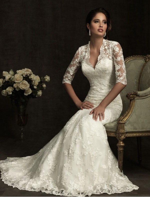 vintage lace v-neckline wedding dress with three quarter lace sleeves