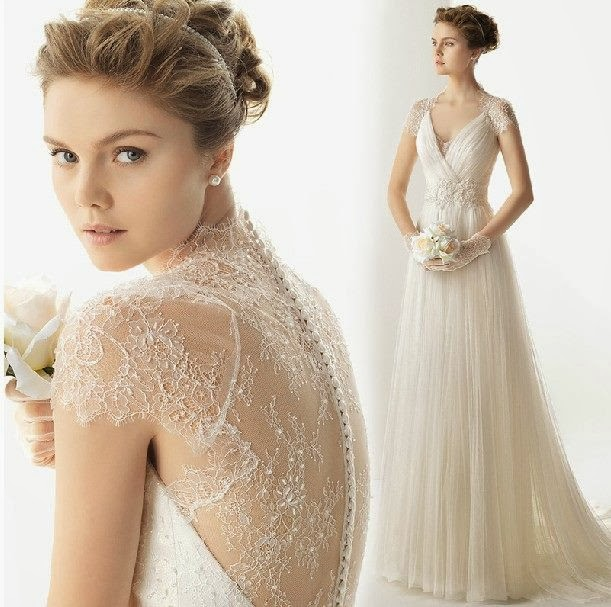 Striking Collections of Vintage Lace Wedding Dresses with Cap ...