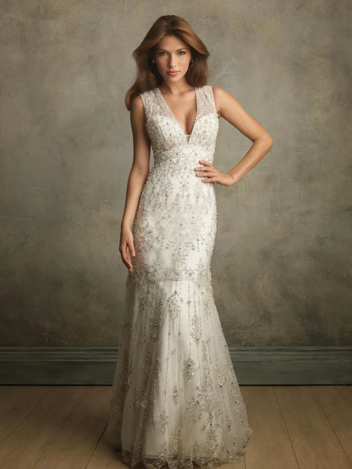 vintage lace wedding dress with deep v-neckline