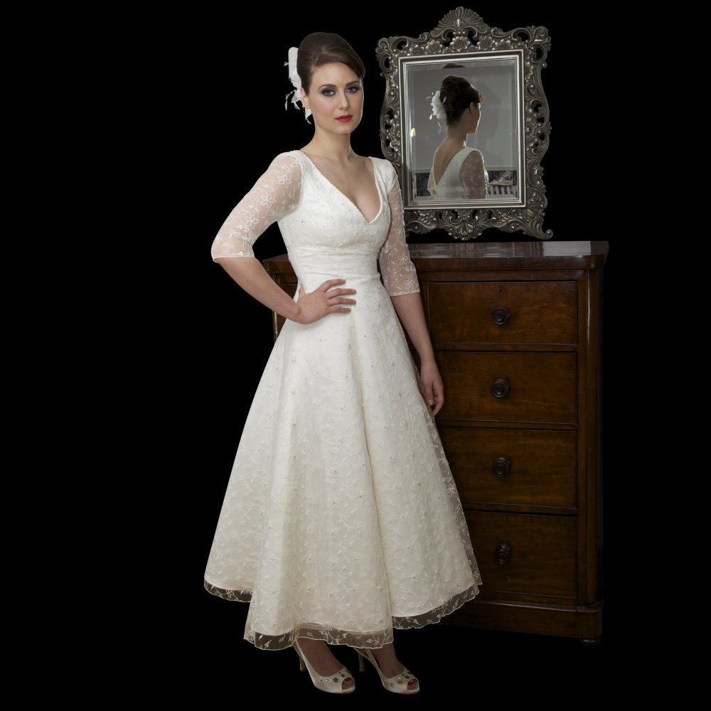 Vintage Lace Wedding Dresses With Tea Length Cherry Marry