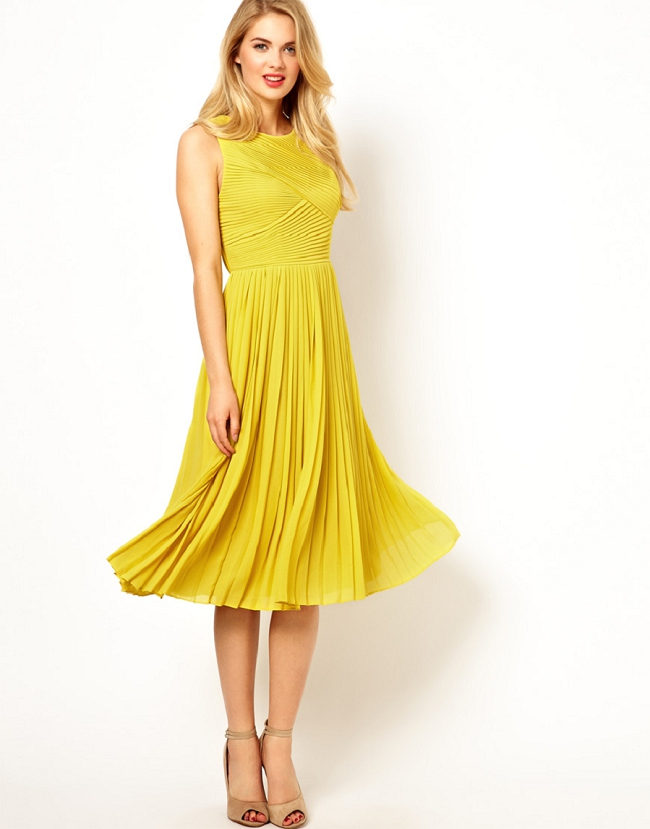 yellow wedding guest dress with knee lengthcherry marry