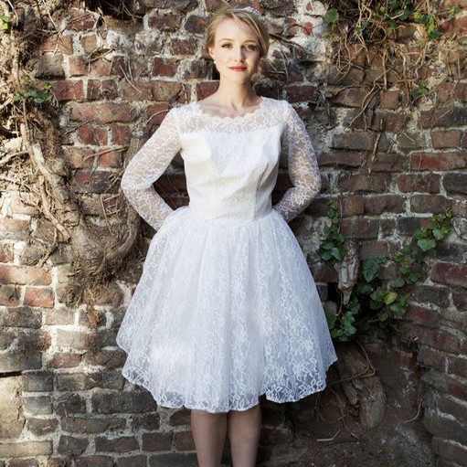 1950s short lace vintage wedding dress