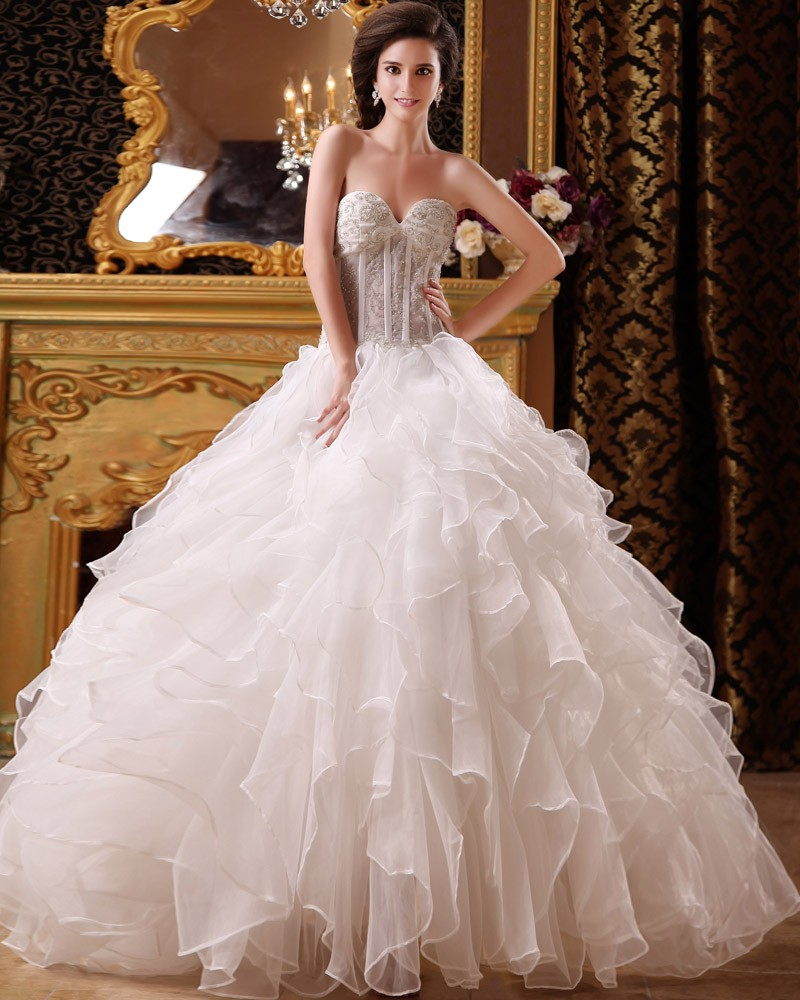 Beaded ball gown organza wedding dress with floor for Beading for wedding dress