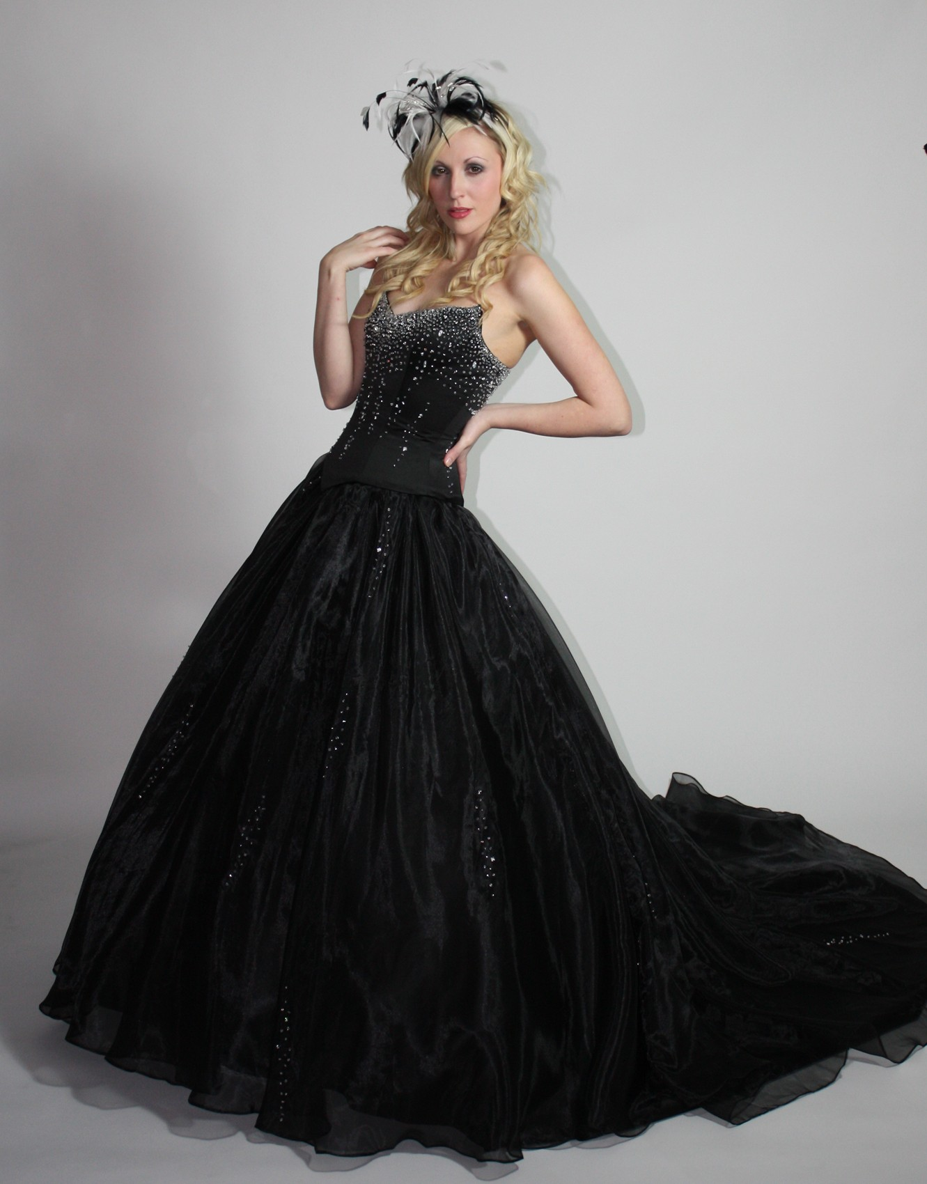 black ball gown wedding dress with gothic style