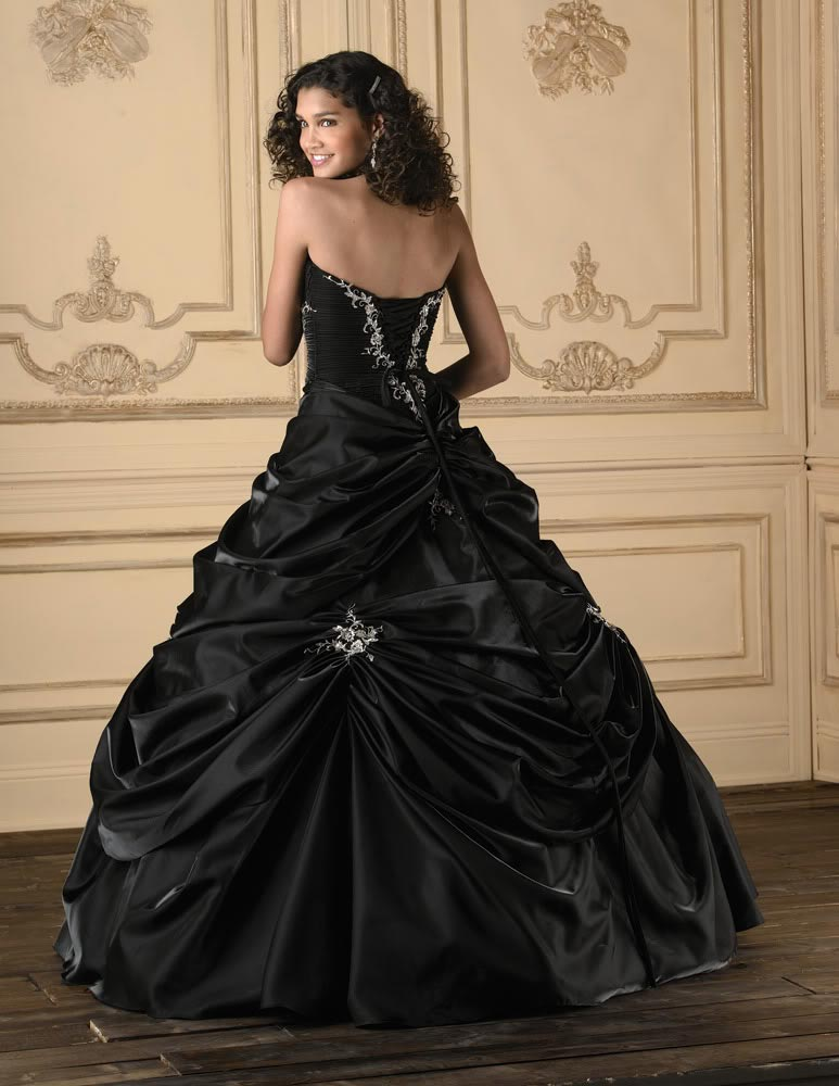 black ball gown wedding dress with strapless neckline