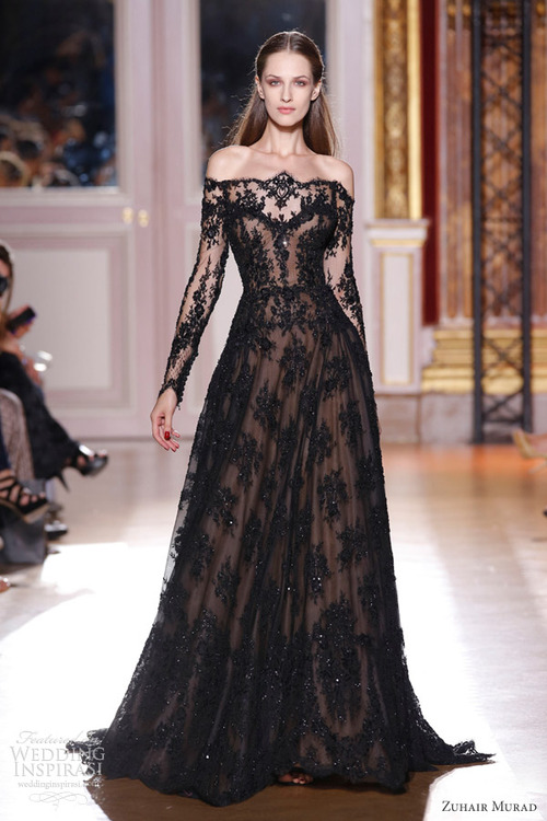 black wedding dress with sleeves