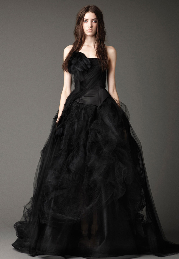 black wedding dress with strapless neckline