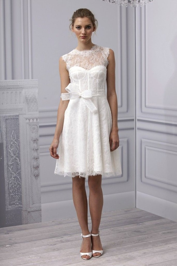 casual short lace wedding dress with sash  Cherry Marry