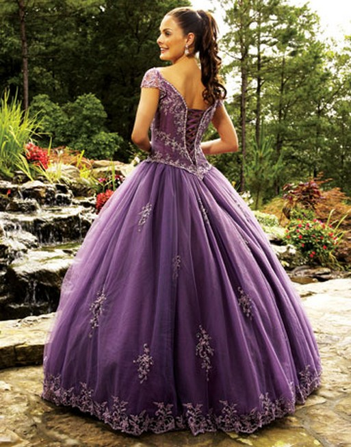 Purple Wedding Dresses For  : Above is a dark purple ball gown wedding dress with cap sleeves visit