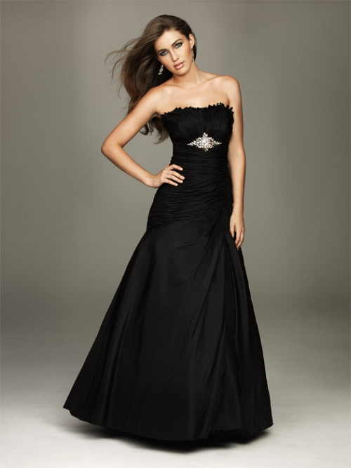 elegant dark strapless wedding dress
