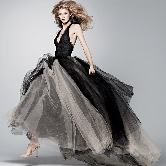 gorgeous vera wang black wedding dress with white accent