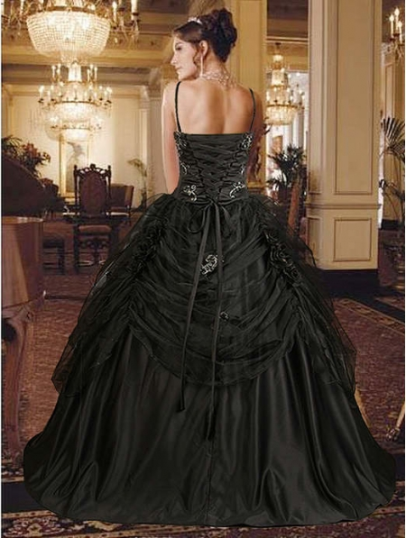 gothic black wedding dress with spaghetti straps
