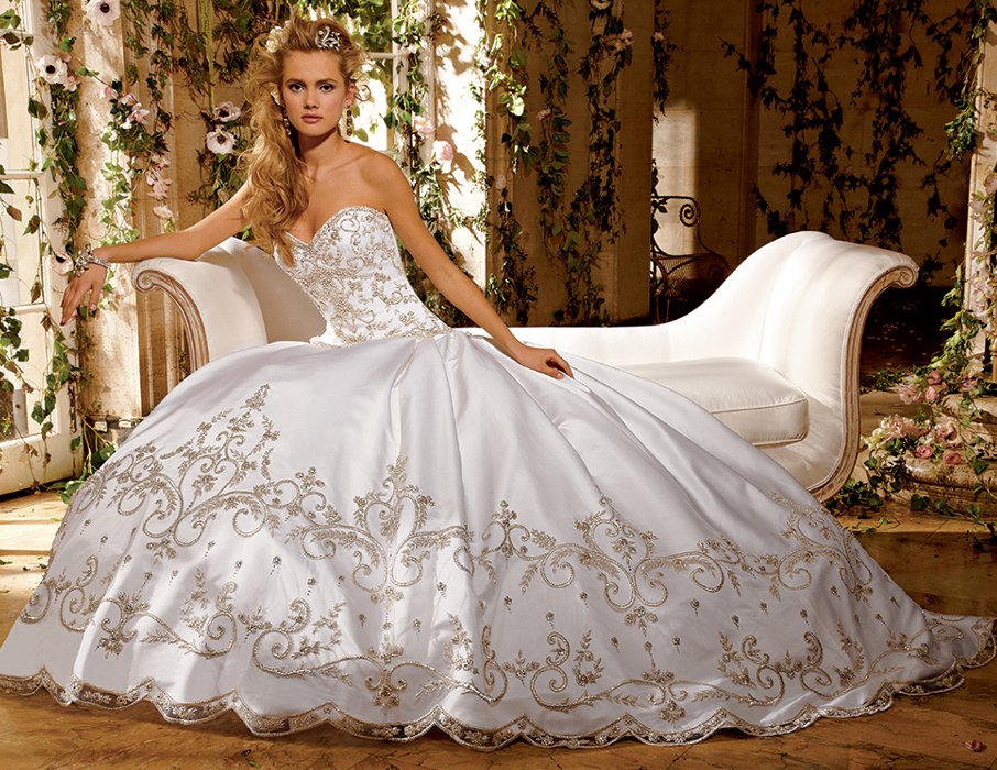 huge beaded ball gown wedding dress with sweetheart neckline