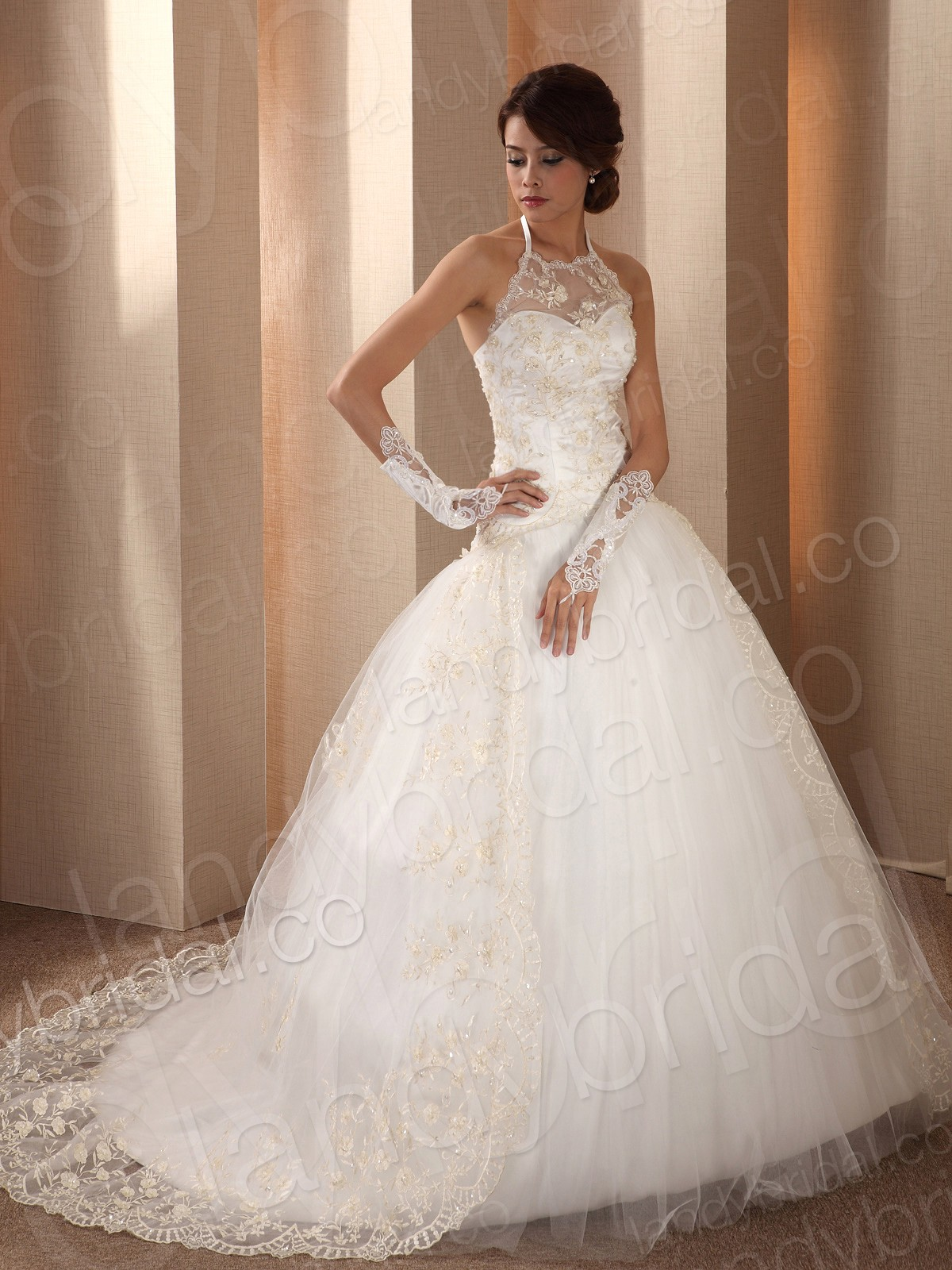 lace ball gown wedding dress with gloves