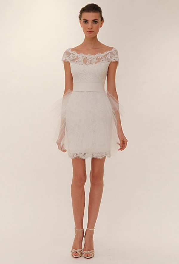 Sabrina vintage short lace wedding dress with short for Petite dresses for wedding